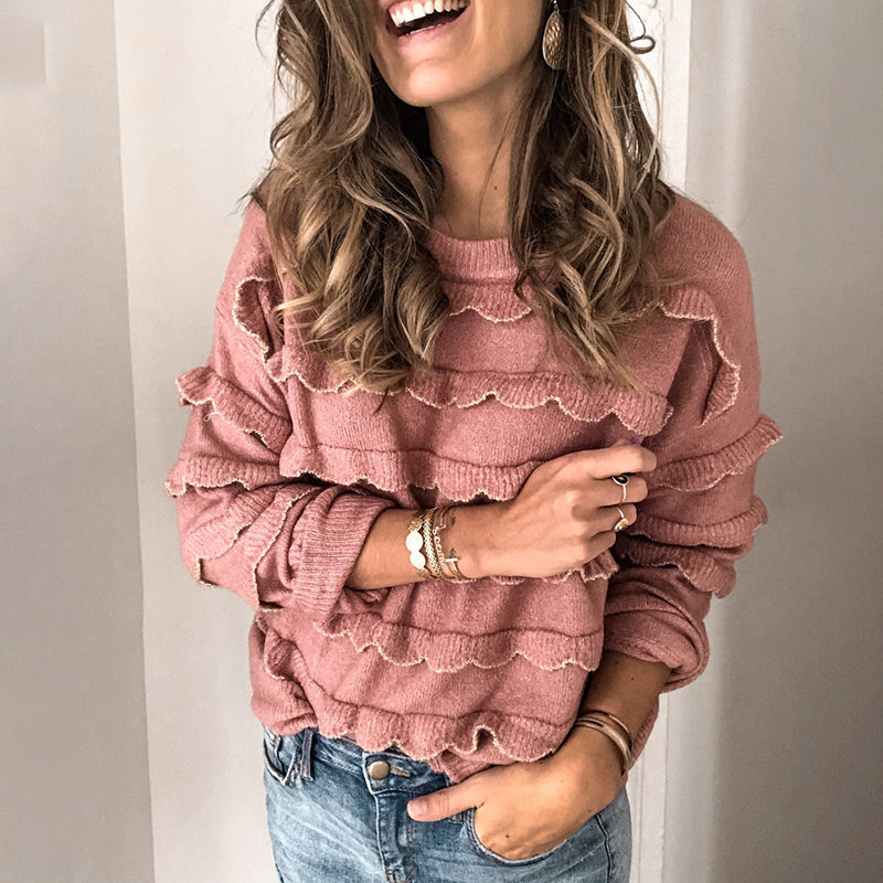 Cute Pure Colour Long Sleeve Sweater