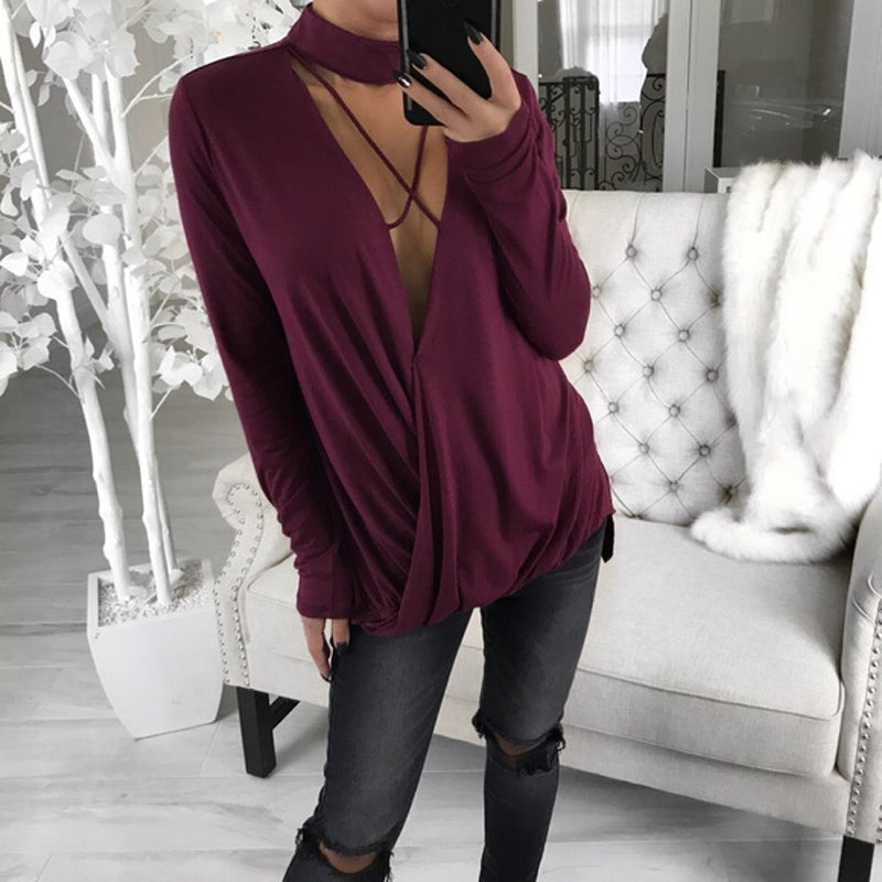 Sexy Street Turtleneck Long Sleeve V-neck Loose Women's T-Shirt