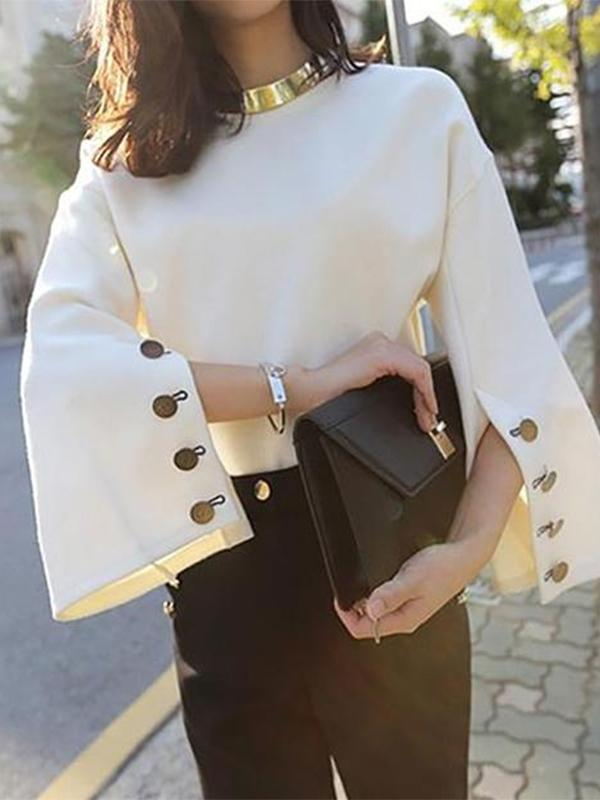 Fashion Round Neck Bell Sleeve Suede Sweater