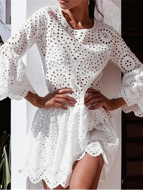 Sexy Hollow Lace Lotus Frock Dress