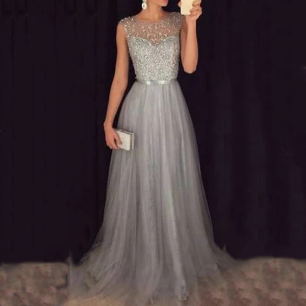 Chiffon Sequined Evening Dress