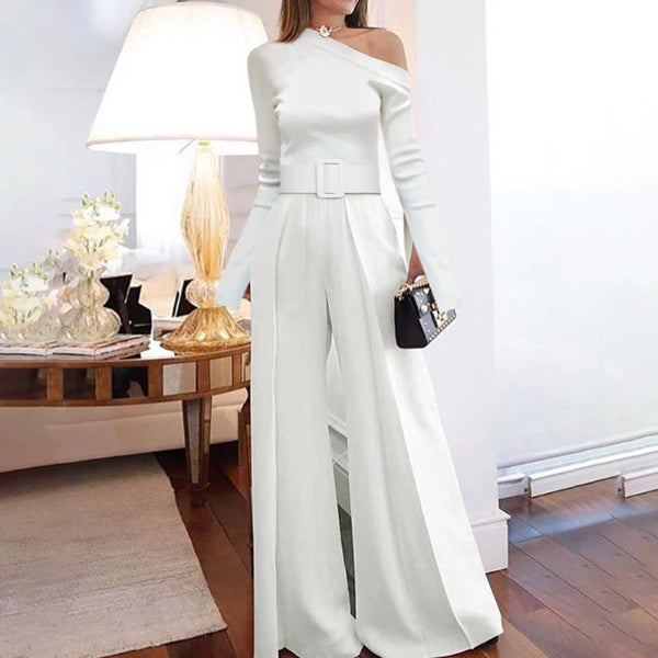 Women's Fashion Off-shoulder Pure Colour Jumpsuits