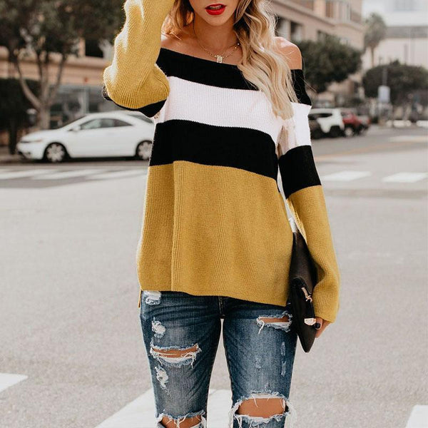 Sexy Off Shoulder Color Block Long Sleeve Knitting Sweater