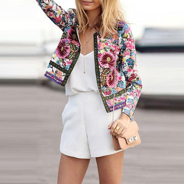 Round Neck  Snap Front  Floral Printed Jacket