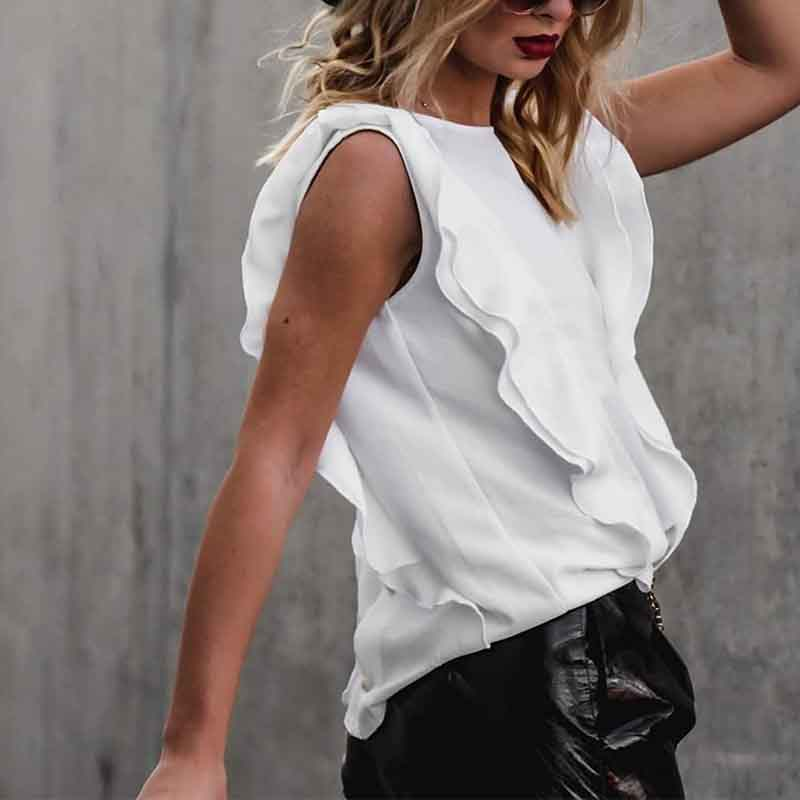 Casual Round Neck Ruffled Top