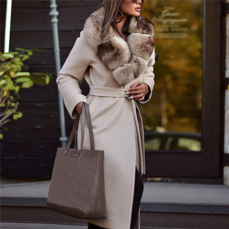 Fashion Women's Plush Lapel Solid Color Coat