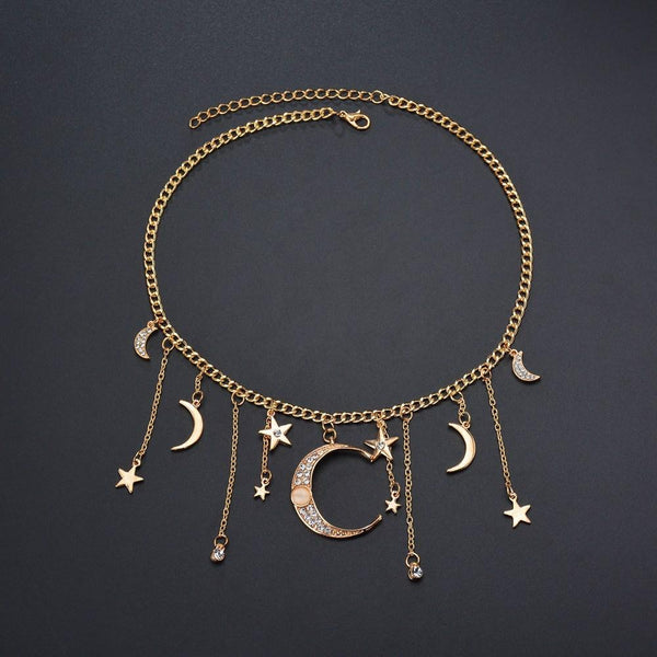 Fashion Vintage Bohemian Alloy Crystal Star Moon Pendant Short Necklace
