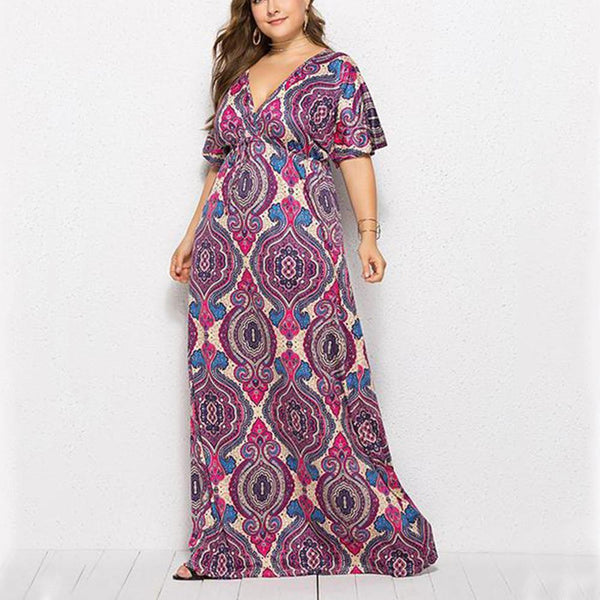 Plus-size sexy printed deep v dress