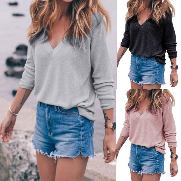 V Neck Knit  Plain Sweater