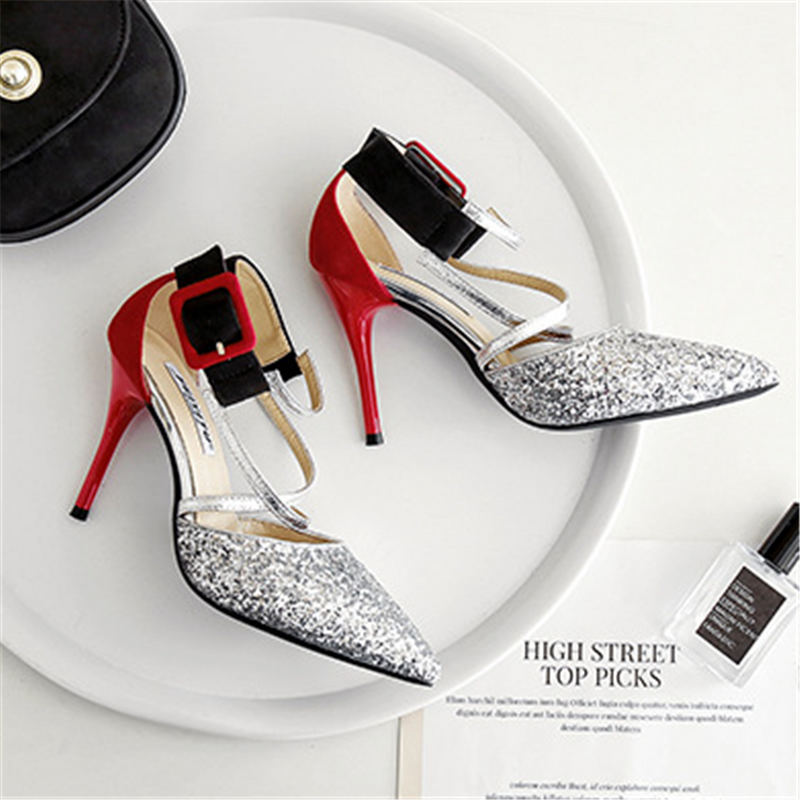 Women's Metallic Sequined Pointed High Heels