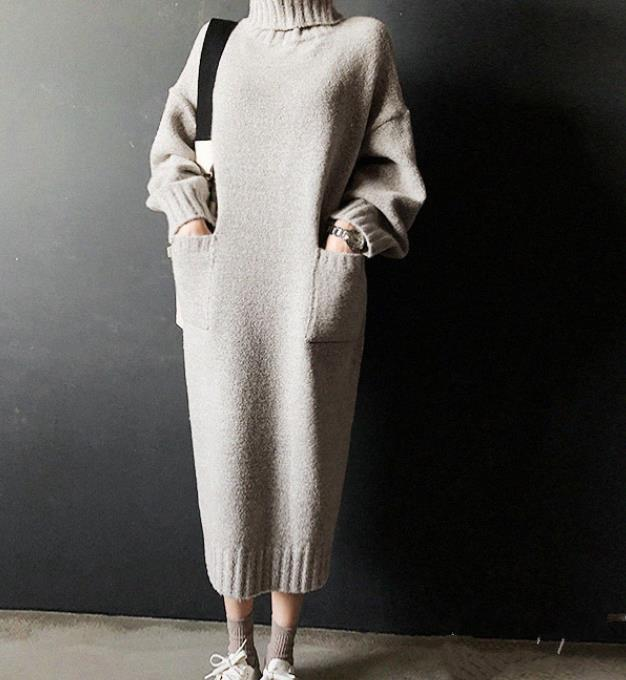 Fashion Simple Loose High Necked Knitted Sweater Dress
