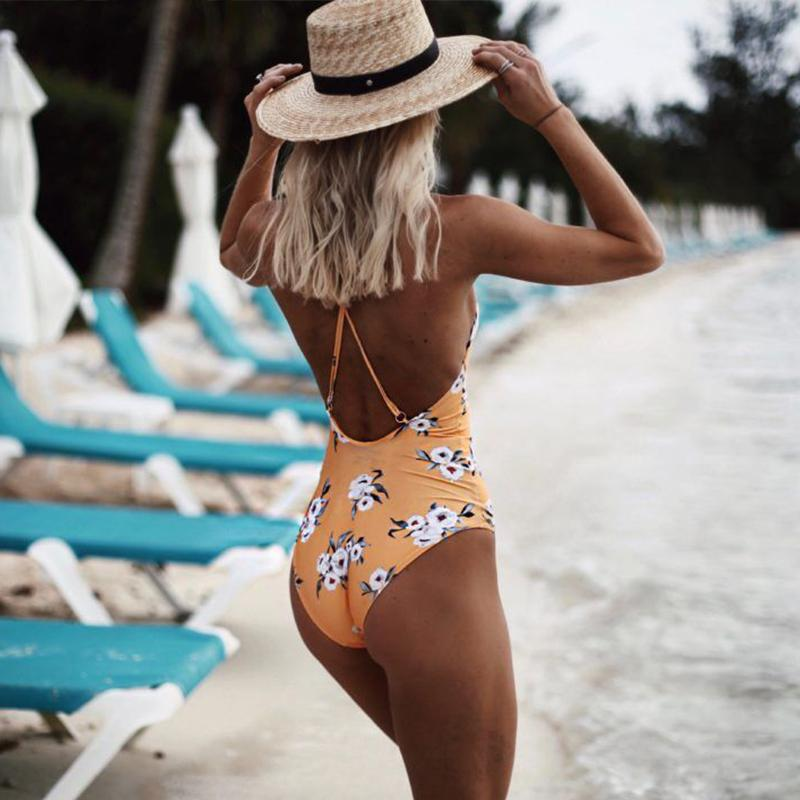 Sexy bikini halter yellow print one-piece swimsuit