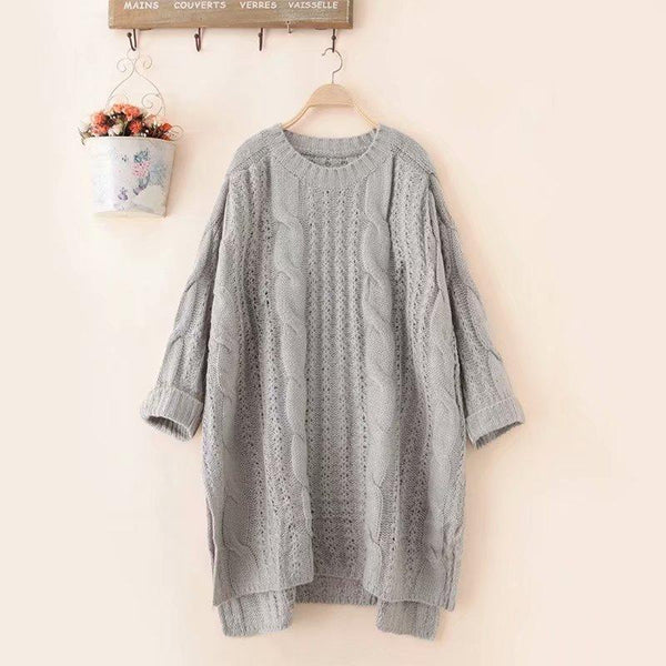 Plus-Size Loose Pure Color Twist Knit Sweater