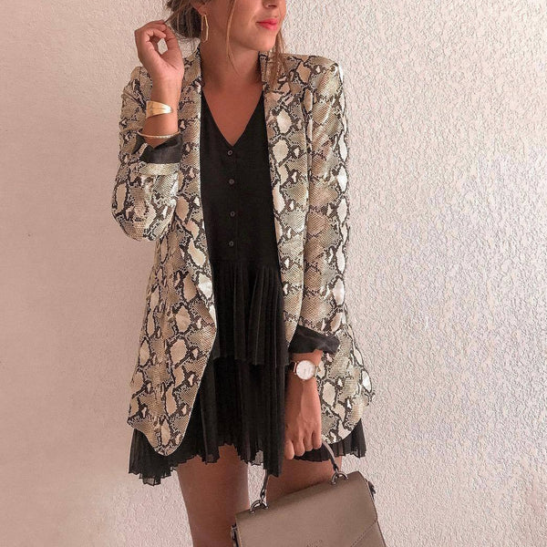 Fashion Snake Print Long Sleeve Suit