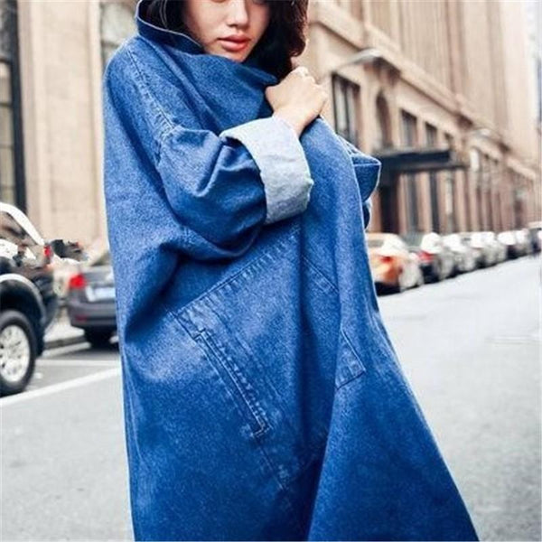 Fashion Pure Color   Baggy Medium Length Hooded Trench Coat Jeans Jacket