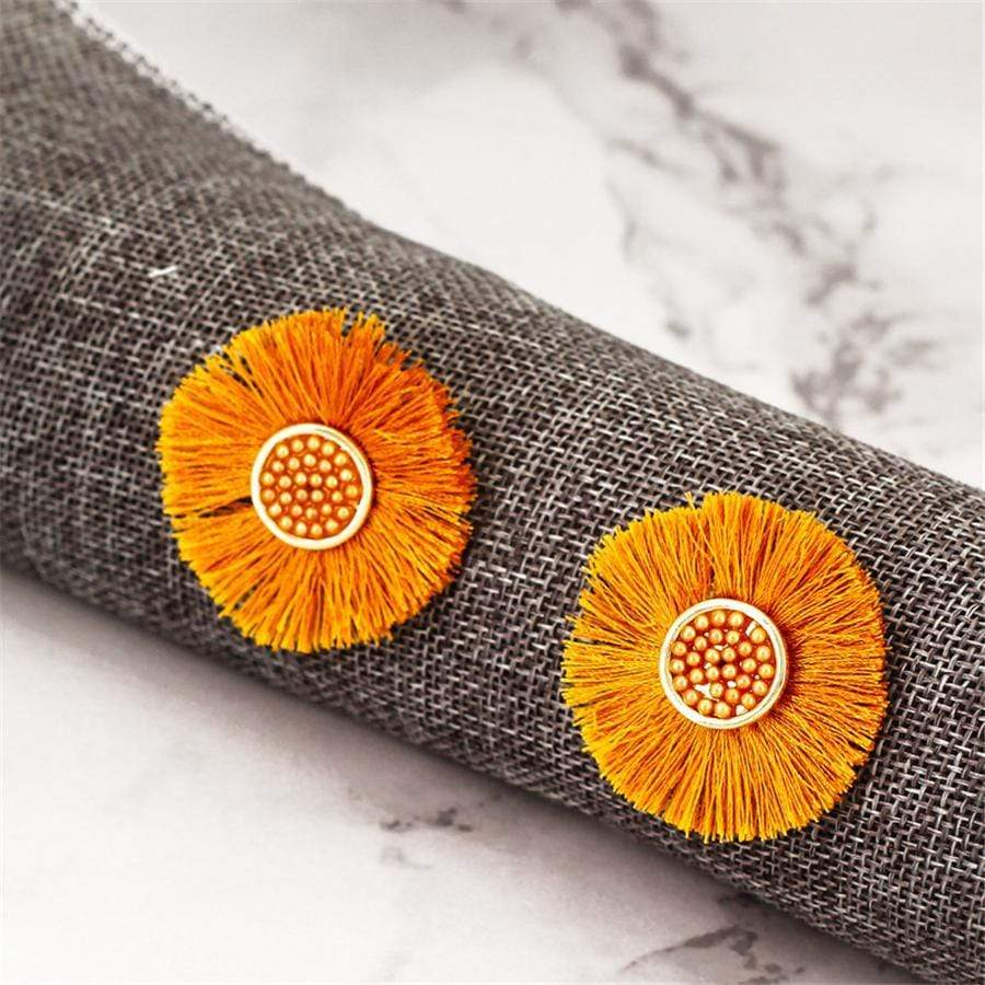 Bohemian Fringe Sunflower Earrings