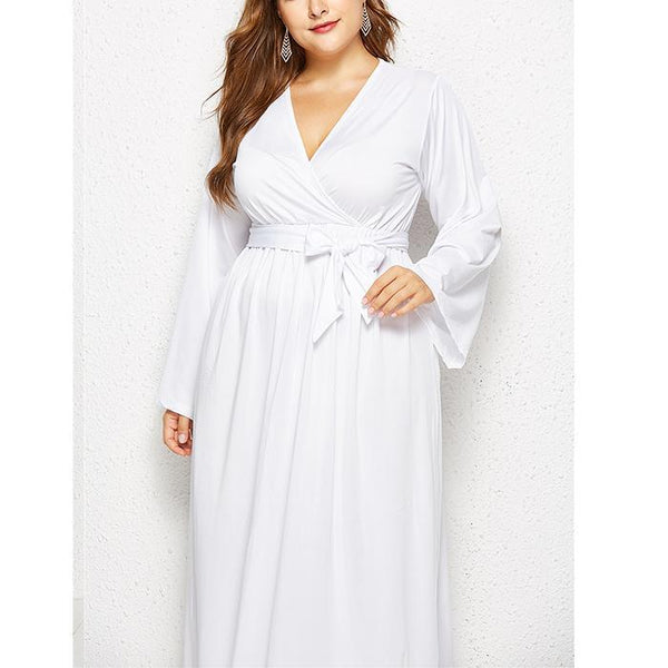 Plus-size Irregular pure color sexy long sleeve deep V dress