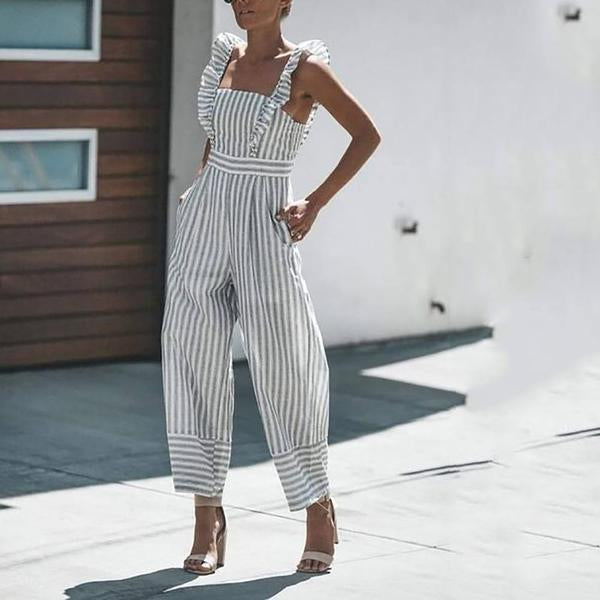 Striped Ruffled Casual Fashion Jumpsuit