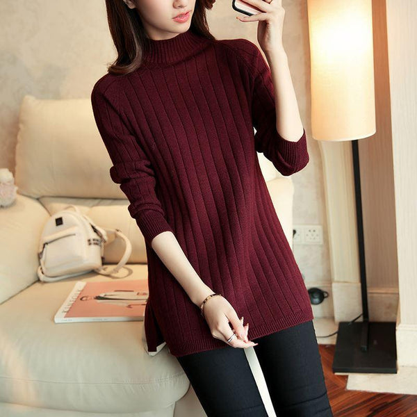 High Neck  Plain Knit Pullover Sweater