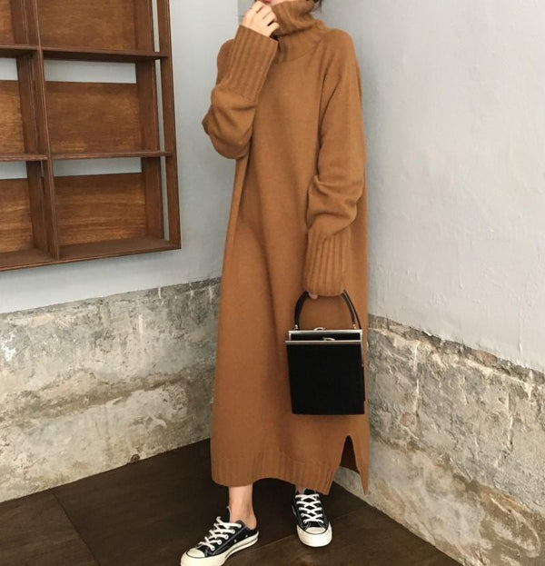 Casual High Collar Long Knitted Dress