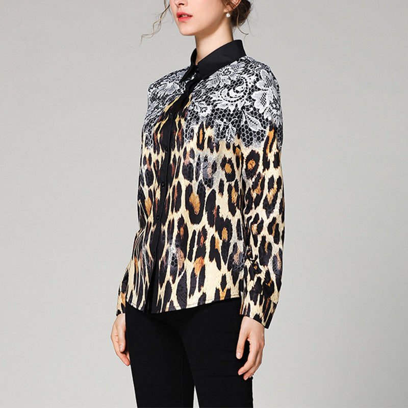 Casual Long Sleeve Leopard Print Shirt