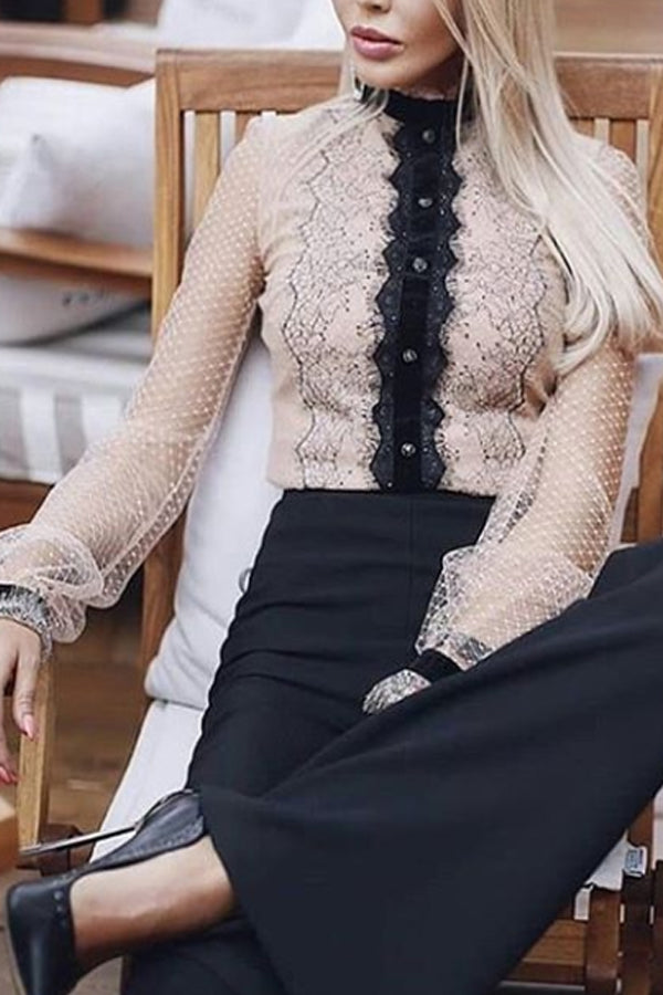 Women's tulle see-through stitching shirt