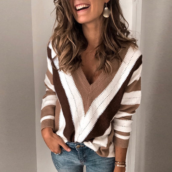 Casual deep v striped long sleeves sweater