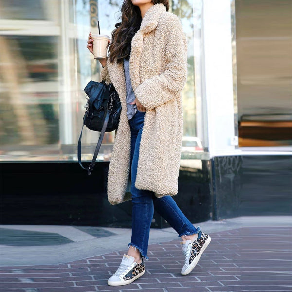 Fashion solid color fold-over collar long-sleeved coat