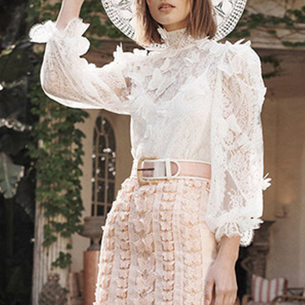 Ladies Elegant Butterfly Decorative Lantern Long Sleeve Lace