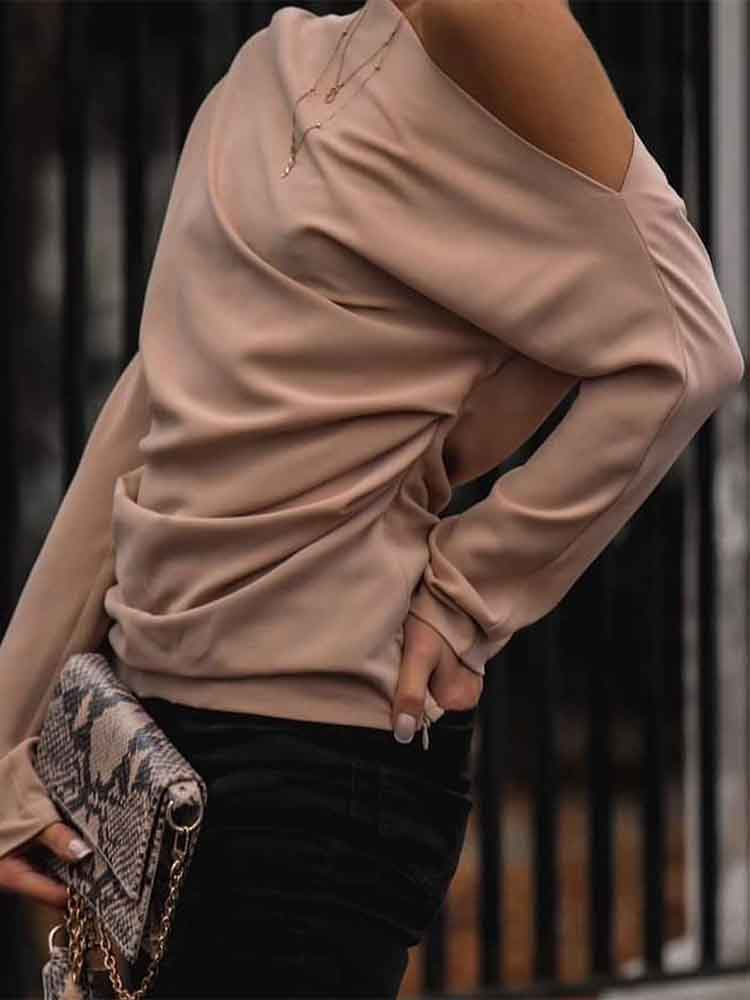Casual Long Collar Long Sleeve Top