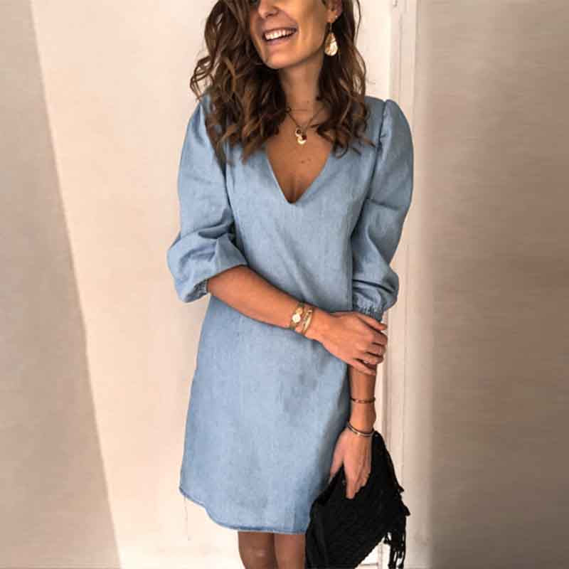 Casual V-neck Mid-sleeve Dress