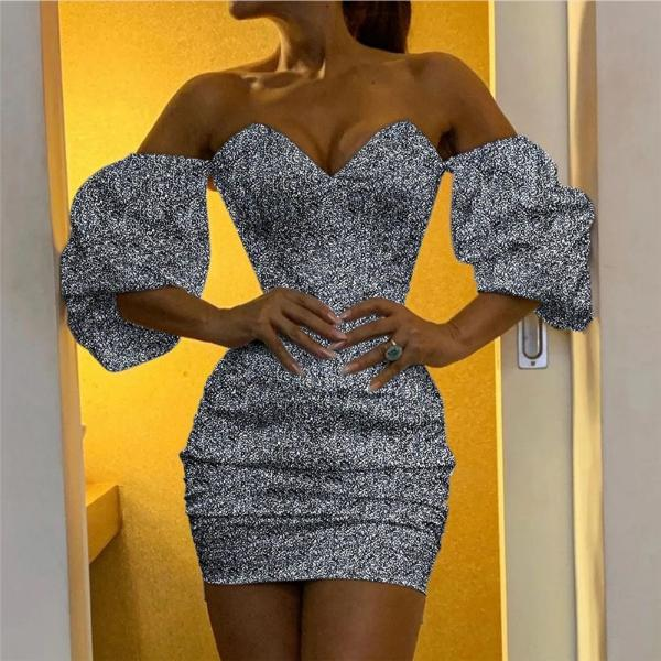 Sexy Off-the-shoulder Irregular Sequin Dress