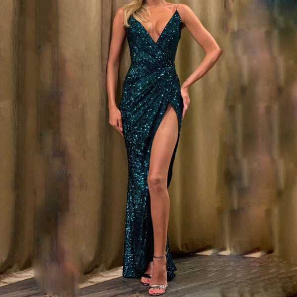 Sexy sparkling crystal sling strap evening gown