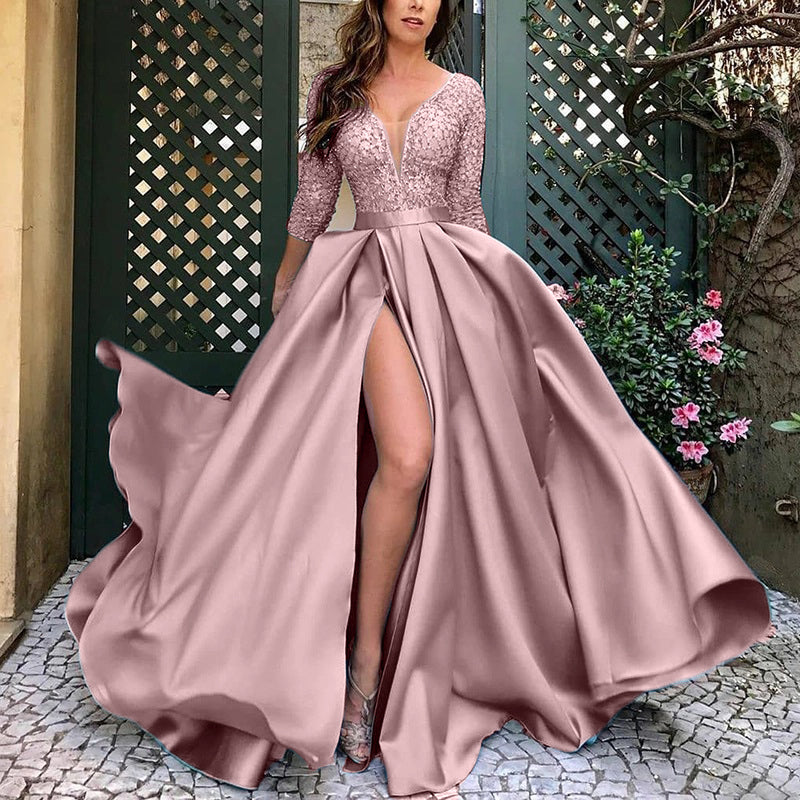Elegant Deep Paillette Slit Evening Dress