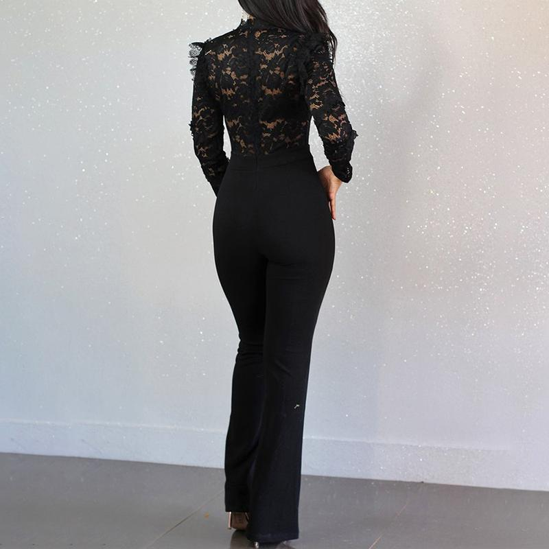 Fashion ladies lace stitching jumpsuit