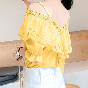 Casual V Neck Off-shoulder Short Sleeve Blouse