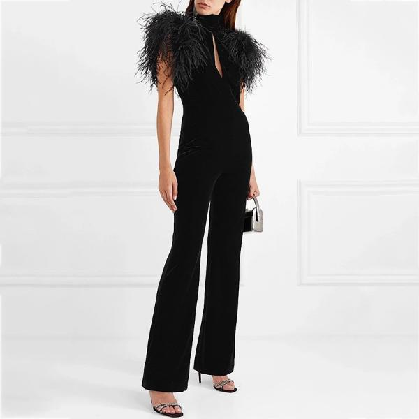 Elegant Casual Plush Stitching Jumpsuit