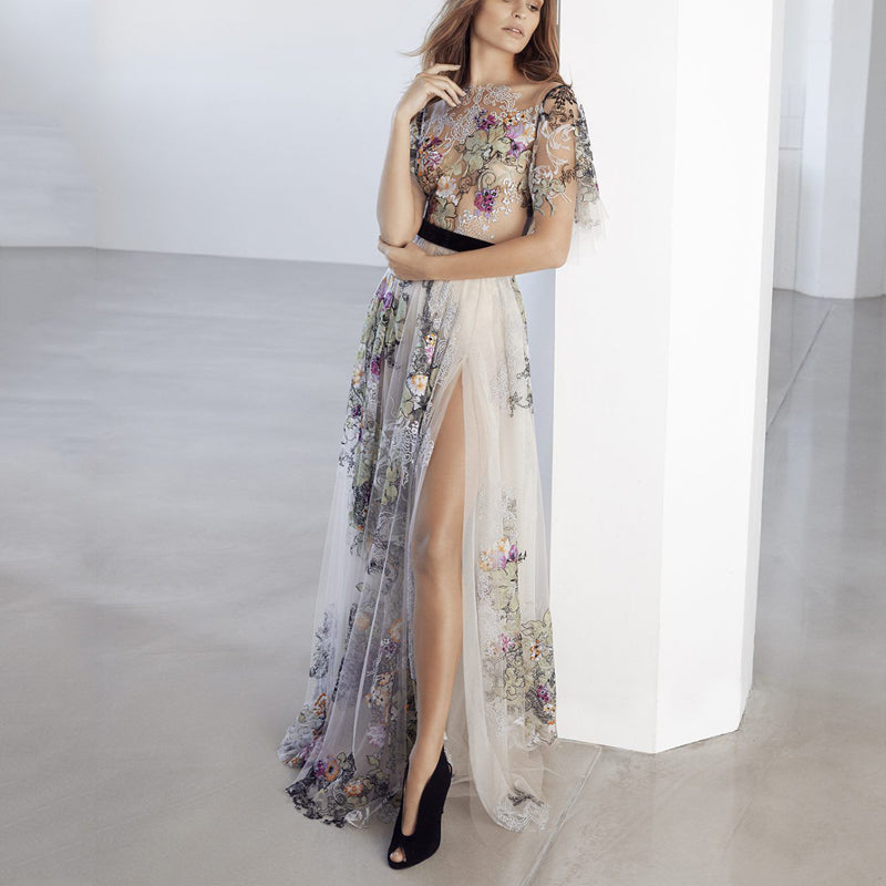 Sexy Embroidered Printed Mesh Short-Sleeved Dresses