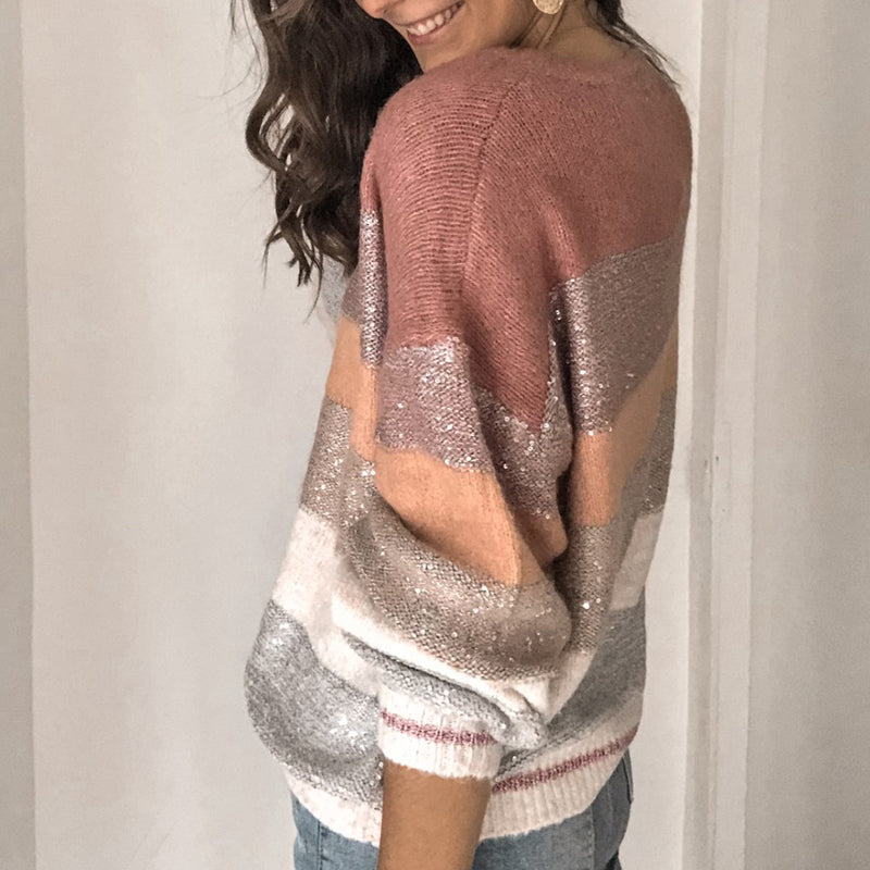 Womens Round Neck Colouring Loose Sweater