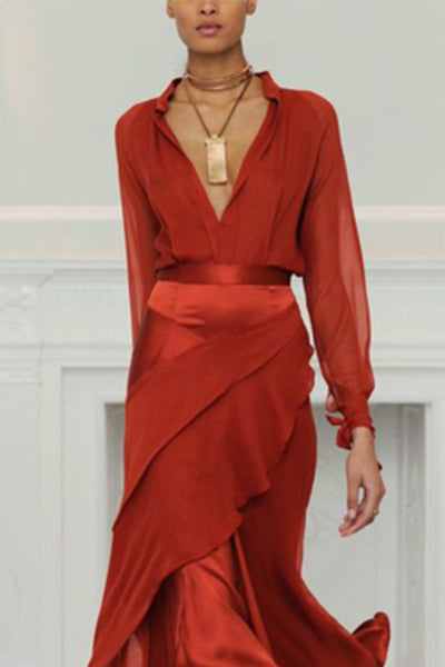 Sexy Deep V Collar Plain Flouncing Maxi Dress