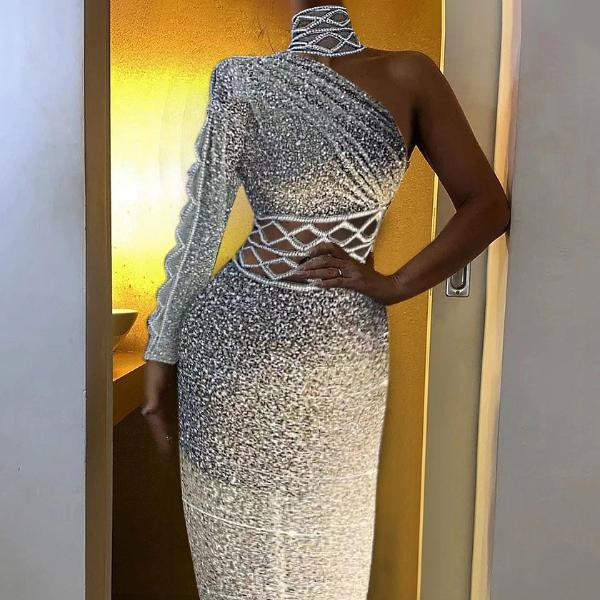 Elegant One-shoulder Cutout Diamond Evening Dress