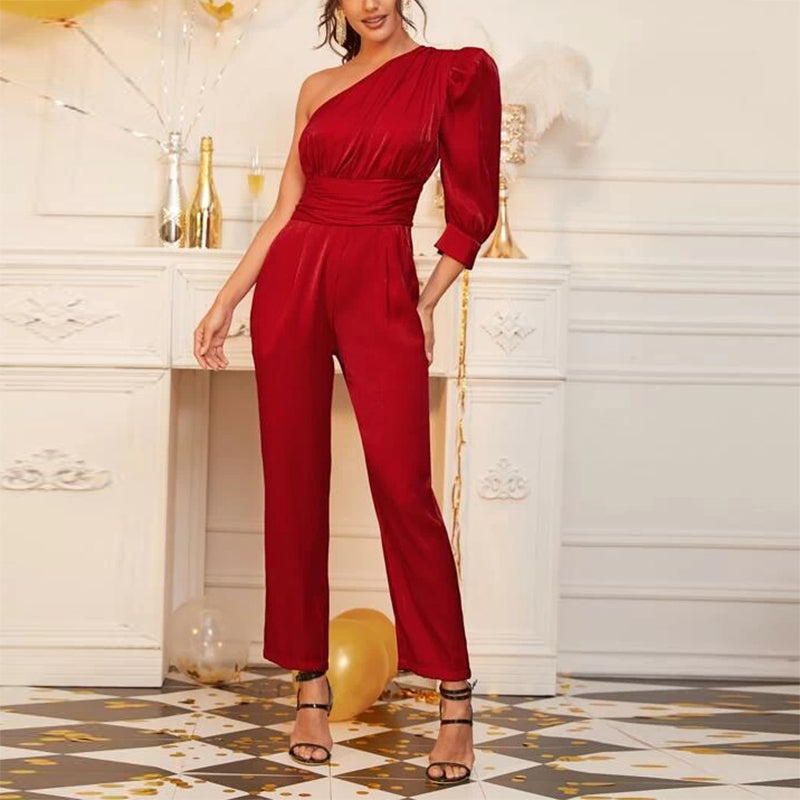 Individual Shoulder Collar Princess Sleeve Jumpsuit