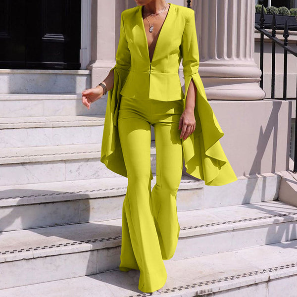Women's Fashion Lapel Irregular Large Sleeve Flare Pants Suit