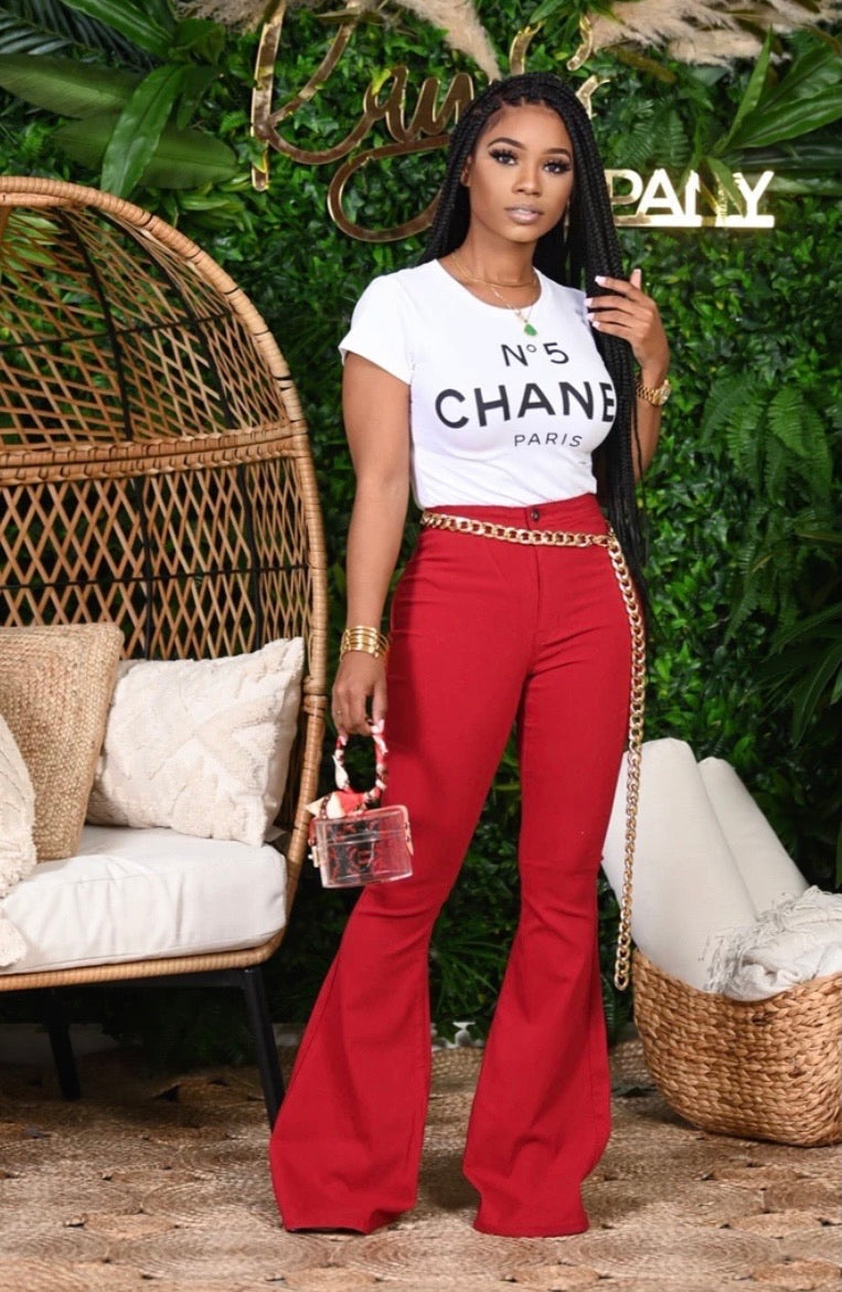 Chanel Me Bell Bottom Pants (Red)