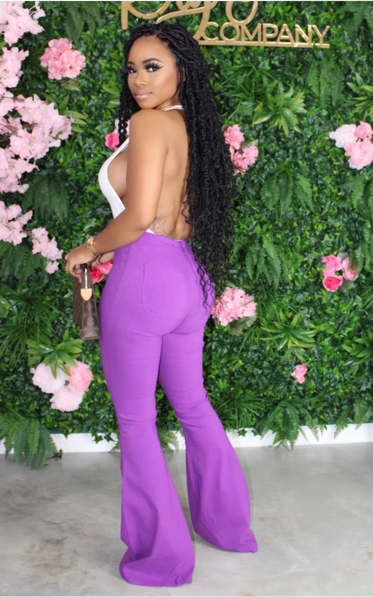Chanel Me Bell Bottom Pants(Purple)