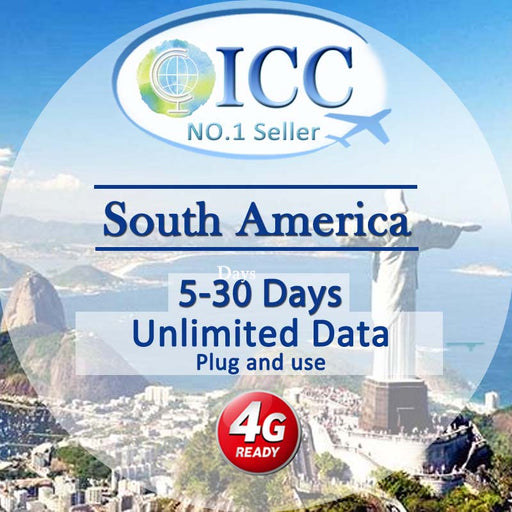 ICC SIM Card - South America 5-30 Days Unlimited Data