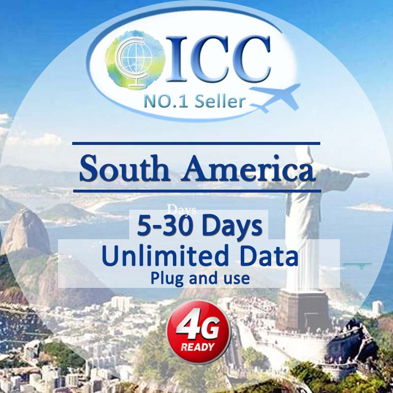 ICC-【South America 5- 30 Days】Unlimited data Plan