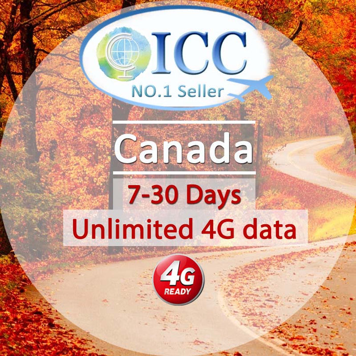 ICC-【Canada 7-30 Days】Unlimited 4G Data Plan