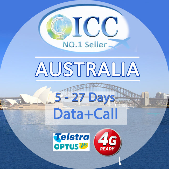 ICC SIM Card - Australia 5-27 Days Data + Call