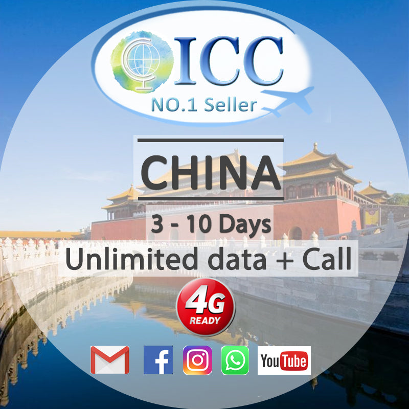 ICC【China SIM Card· 3-10 Days】Unlimited Data + Call (China Mobile)